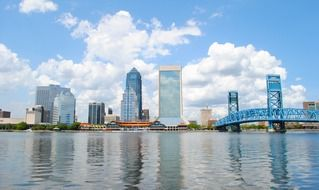 waterfront of city at summer day, usa, florida, jacksonville