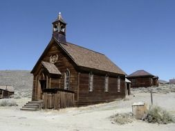 wooden buildings at ghost town, usa, california, bodie
