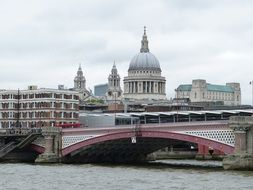 view of st paul's dome from thames river, uk, england, london