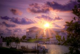 sunset florida beach canal water