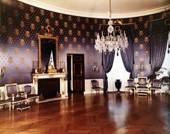 the white house blue room interior from 1952, usa, washington dc