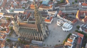 tower of Ulm Cathedral above city, germany, munich