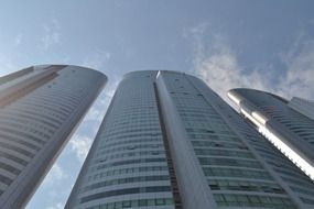 low angle view of three high-rise buildings at sky