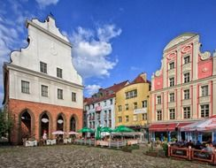 old town colorful buildings, poland, szczecin