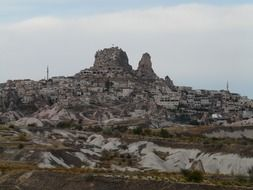 town at castle rock, turkey, cappadocia, uchisar