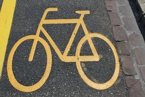 bike road mark cycle path yellow line
