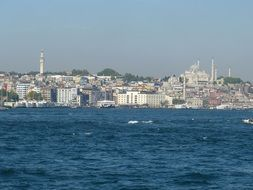 Arap Mosque in city skyline, turkey, istanbul