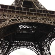 eiffel tower, bottom view of steel construction, france, paris