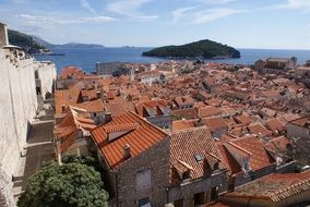 roof view of old otown at sea, croatia, dubrovnik