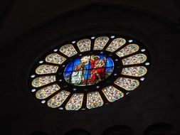baptizm of jesus, stained glass rose window