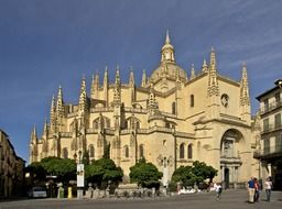Gothic-style Roman Catholic cathedral on square, spain, segovia