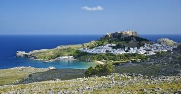 village at sea, scenic landscape, greece, rhodes, lindos