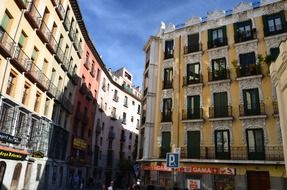 stone carved facade of old building in city, spain, madrid