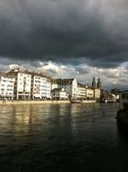 scenery stormy clouds above old city at lake, swizerland, zurich