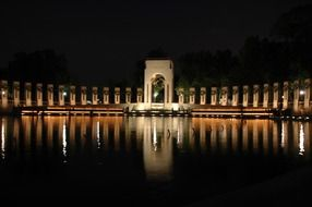 Night view of the World War II Memorial in Washington, DC
