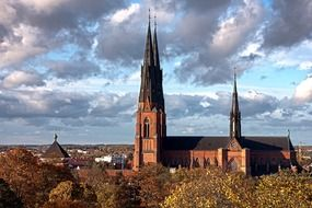 medieval cathedral in old city at fall, sweden, uppsala