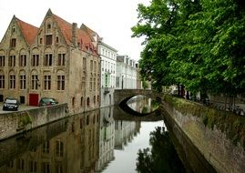bridge across canal in medieval town, belgium, bruges