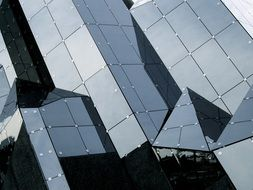 glass facade of cinema building, fragment, france, poitier, futuroscope theme park