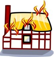 graphic image of a house on fire