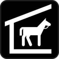 horse in stable, icon