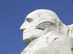 side viewof george washington sculpture at sky, usa, south dakota, mount rushmore National Memorial