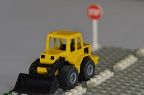 yellow lego car