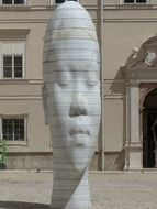 Awilda, young girl's head, modern sculpture on square, austria, salzburg