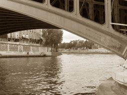 bridge across seine river, detail, france, paris