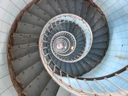 spiral staircase of lighthouse, france