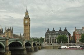 westminster bridge and big ben tower at thames river embankment, uk, england, london