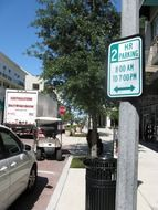 parking sign on street in city, usa, florida, orlando