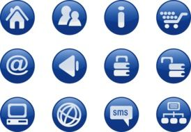 isolated blue internet icons