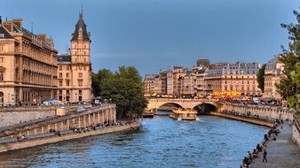 pont michel, historical bridge across seine river in city, france, paris