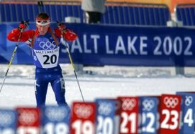 biathlon, athlete skiing on olympic trace, usa, utah, salt lake city