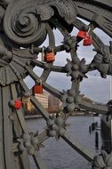 red locks on the iron gate in Berlin
