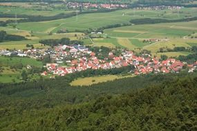 aerial view of a village from swabian alb
