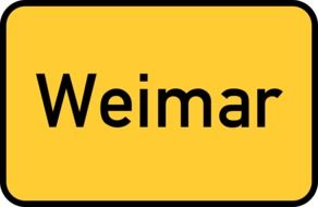 weimar, yellow traffic sign