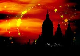 christmas stars, above old city, greeting card