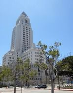 los angeles city hall building on street, usa, california