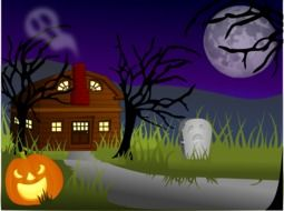 pumpkin at road in front of haunted house, halloween illustration