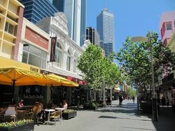 cafe on street in city, australia, perth