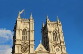 Bell Towers of Westminster Abbey at sky, uk, england, london