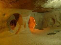 hiding place in underground city, turkey, cappadocia