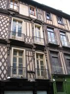 old timber facade, france, rennes