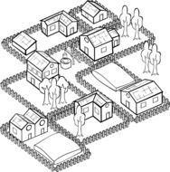 fenced houses, plan of village