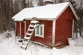 red wooden cabin in snowy forest