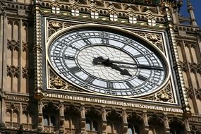 clock face close up, big ben tower, uk, england, london, westminster