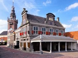 historical building with tower, netherlands, appingedam