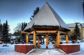 pavilion in city park at winter, canada