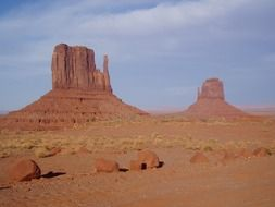 red rock formations in desert, usa, utah, monument valley